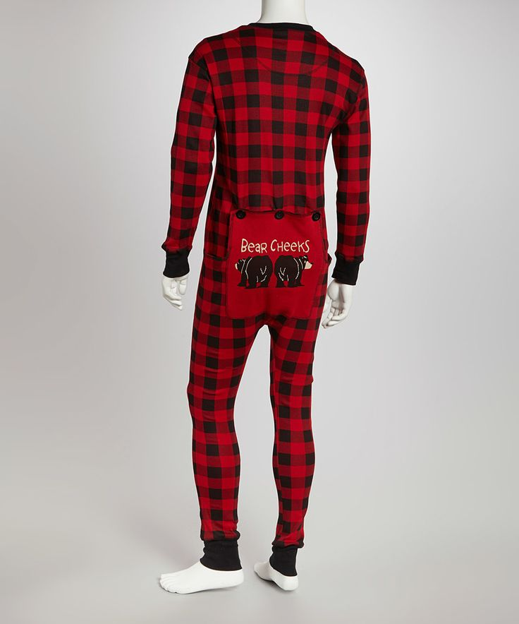 This Red & Black Buffalo Check Flapjack Pajamas - Adult by Lazy One is perfect! #zulilyfinds