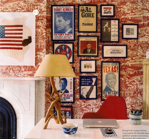 Chris loves this presidential themed vintage decor although we'd have nix all the Republican presidents for him to be happy