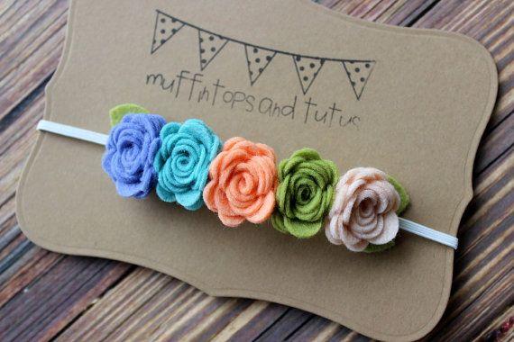 Felt flower garland headband felt flower by muffintopsandtutus