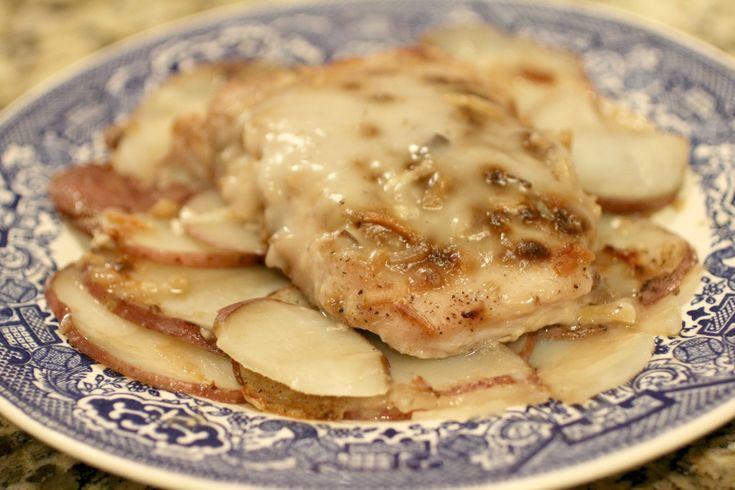 Pork Chop Casserole - Potatoes, pork chops, onion soup mix, and cream of mushroom soup.  Weight Watchers recipe.
