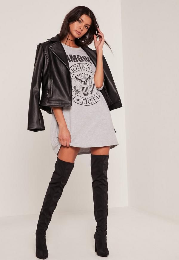 f0a776b15 Show some band love with this grey Ramones t-shirt dress.   Style Seperates    Dresses, Ramones t shirt, Shirt dress