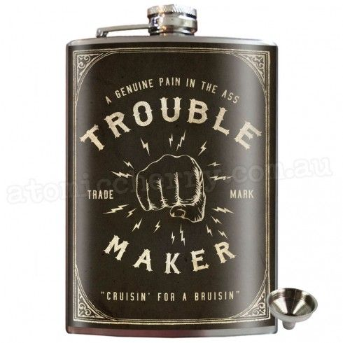 Trouble Maker Stainless Steel Hip Flask