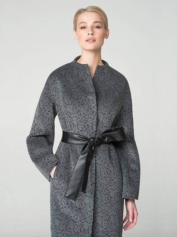 Пальто женское цвет серый, пальтовая ткань, артикул 1013541p00591