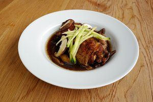 Braised chicken with shiitake mushroomsDish by Nuno Mendes. Photograph by Felix Clay