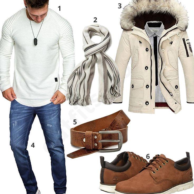 Herrenoutfit mit weißem Longsleeve, Parka und Schal (m0657) #longsleeve #jeans #schal #parka #ledergürtel #timberland #outfit #style #herrenmode #männermode #fashion #menswear #herren #männer #mode #menstyle #mensfashion #menswear #inspiration #cloth #ootd #herrenoutfit #männeroutfit