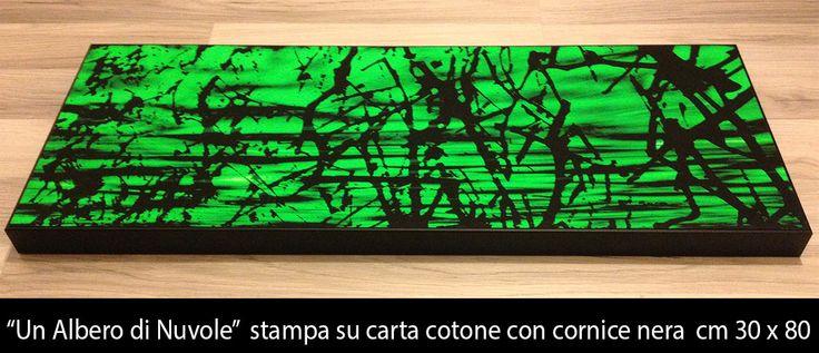 """""""UN ALBERO DI NUVOLE"""" stampa su carta cotone con cornice nera cm 30 x 80"""