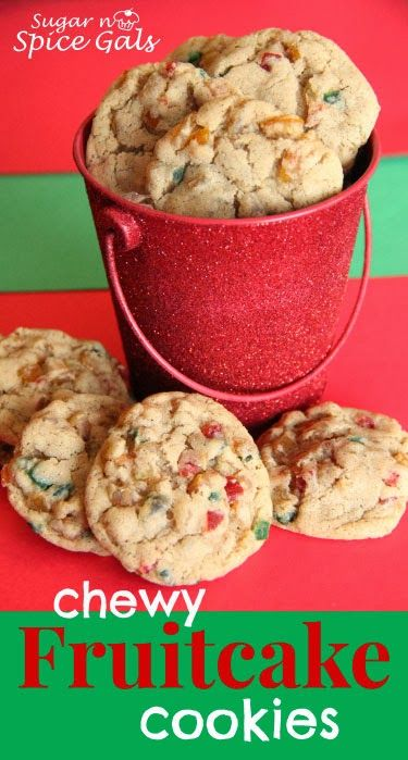Here's a cookie for all you fruit cake fanatics out there.  Chewy Fruitcake Cookies from www.sugar-n-spicegals.com #fruitcake #cookies #christmas
