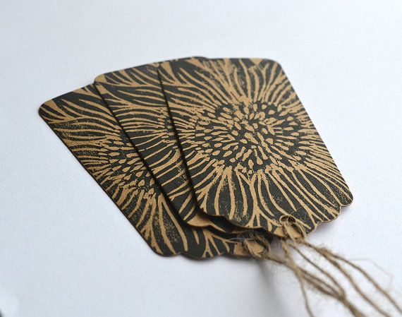Linocut Hand Printed Sunflower Gift Tags By