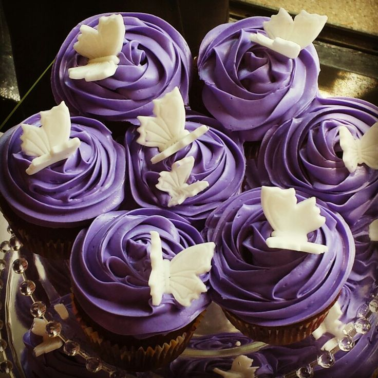 Butterfly Themed Baby Shower Cupcakes w/fondant butterflies! #It'sAGirl!!