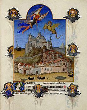 Fratelli Limbourg (Herman, Paul e Jean) - Le Mont Saint-Michel in La festa di Arcangelo - Le Très Riches Heures del Duca di Berry - 1411-1416  - Musée Condé - Chantilly