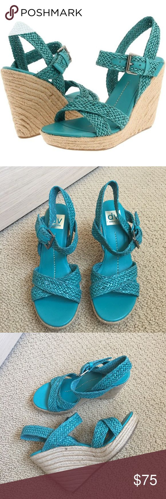 DOLCE VITA Wedge Sandals (NWOT) DV Turquoise / Teal wedged sandals perfect for spring and summer! Worn once indoors, condition like new! Good stability and comfy! In original boxes. DV by Dolce Vita Shoes Wedges