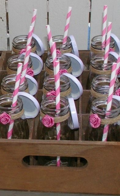 Milk bottle drinks with striped paper straws at a Shabby chic cowgirl Birthday Party!  See more party ideas at CatchMyParty.com!