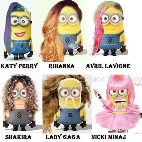 minions dressed as famous pop singers