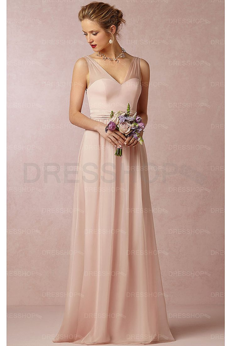 61 best champagne bridesmaid dresses images on pinterest in champagne pearl pink chiffon v neck a line floor length bridesmaid dresses ombrellifo Choice Image