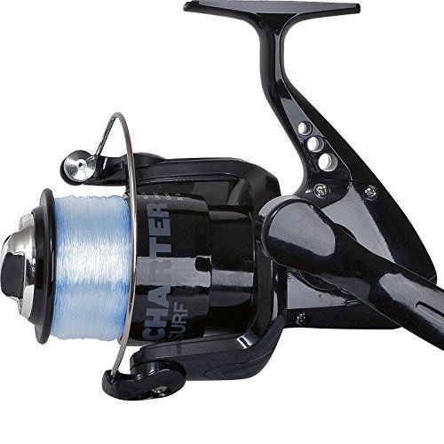 Fishing UK - FLADEN CHARTER 70 (1BB) Front Drag Large Fixed Spool Spinning Reel with 20lb line on - Shore, Beach Casting and Boat fishing