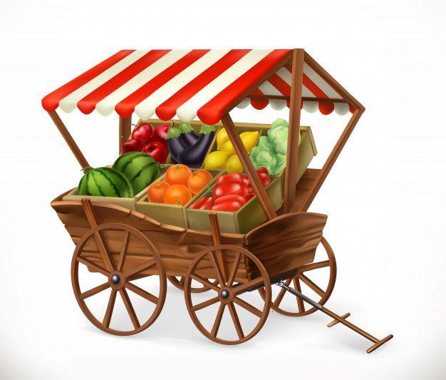 Mercado De Productos Frescos Carro Con Premium Vector Freepik Vector Comida Frutas Fresco Produtividade