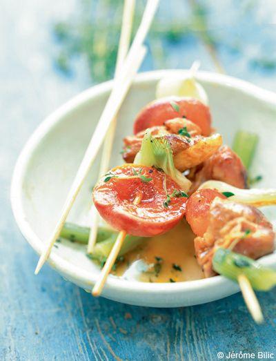 Brochettes de porc aux abricots      pour 4 personnes - Recettes Elle à Table