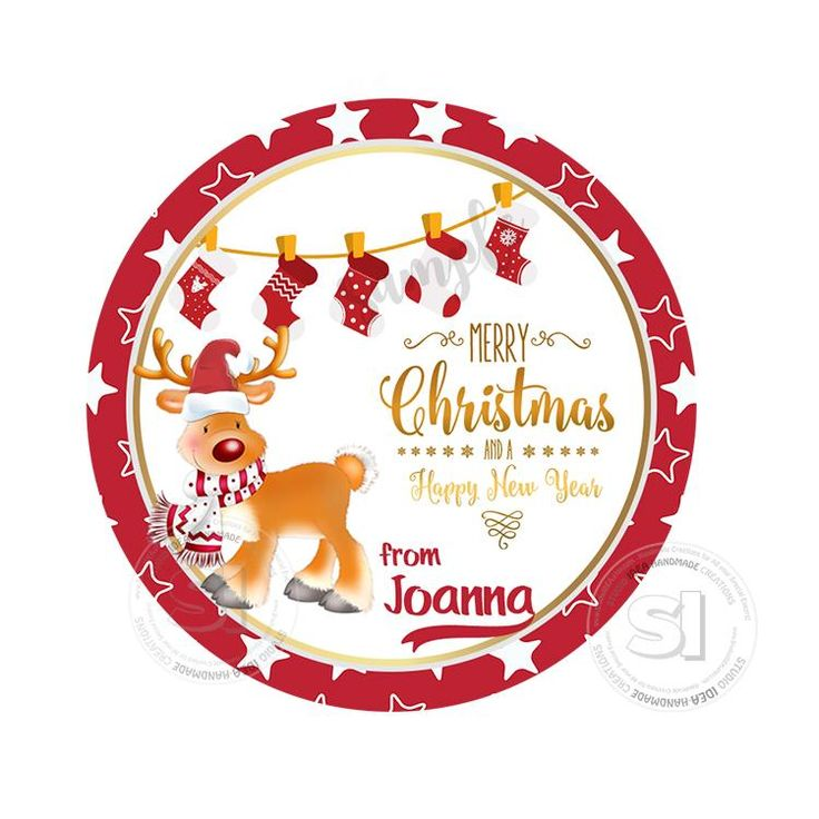 """Christmas Wishes Personalized Printable 2.5"""" Tag-Merry Christmas  2.5 inches Circle Tags DIY Favor Tags-Stickers"""