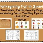 Are you looking for fun activities in Spanish for your class? Look no further! This pack includes a lot of great activities for Thanksgiving!  1. Game: Yo tengo... Quién Tiene.. 2. 12 BINGO Cards 3. Puzzle 4. Coloring Page 5. Vocabulary Cards 6. A lot of fun!