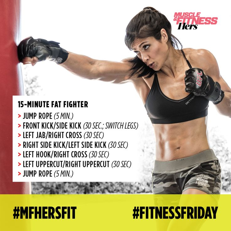 Try our #FitnessFriday 15-minute  Fat Fighter workout!  Give body fat the 1-2 with this fast and furious kickboxing routine.  How to do it: warm up by jumping rope for 5 minutes. Then do 3 1-minute rounds of the punch combos followed by 3 rounds of the punch/kick combos. Finish with 5 minutes of jumping rope.