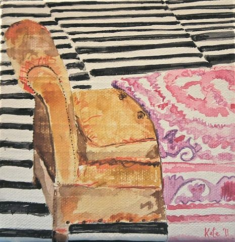 Kate Lewis - Sister Chaise: Interiors Illustrations, Artists Eye, Art Lessons, Art Interiors, Watercolor On Canvas, Art Ideas, Art Form, Painting, Kate Lewis