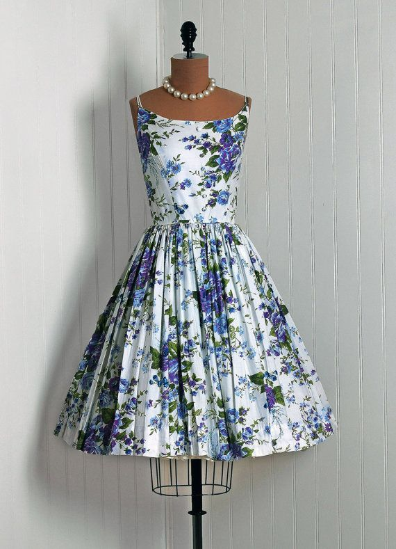 1950's Vintage Blue-Purple Roses Floral-Garden Watercolor Cotton-Couture Sleeveless Duel-Strap Rockabilly Full Circle-Skirt Swing Sun Dress