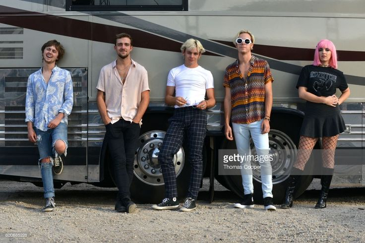 Ellington Ratliff, Rocky Lynch, Ross Lynch, Riker Lynch and Rydel Lynch of the Pop Band R5 at Elitch Gardens on June 24, 2017 in Denver, Colorado.