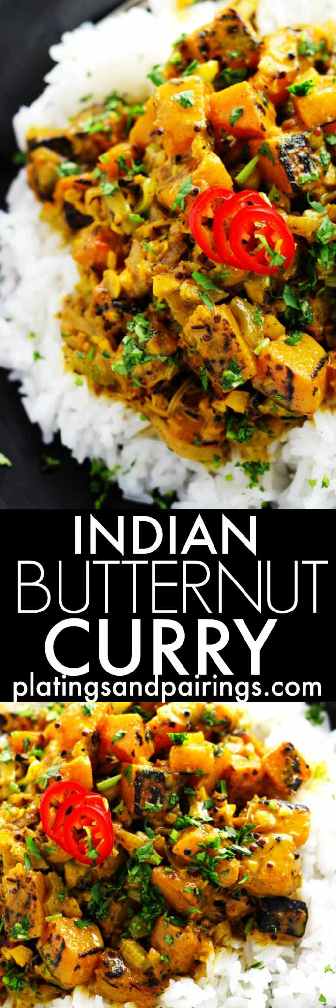 This Indian Butternut Squash Curry is a delicious vegetarian curry dish simmered with fragrant spices and rich coconut milk.   platingsandpairings.com