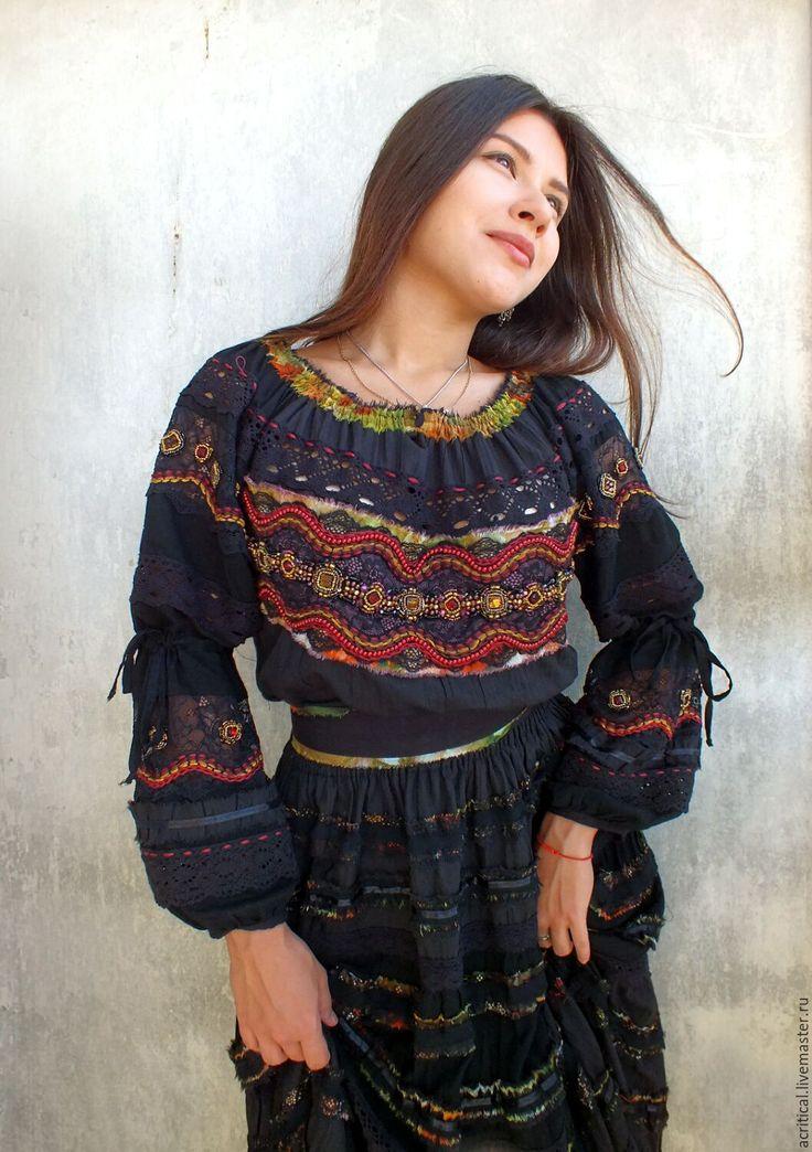 """Купить Бохо-платье """"Есения-Jipsy Queen"""" - черный, нарядное платье, яркое платье"""