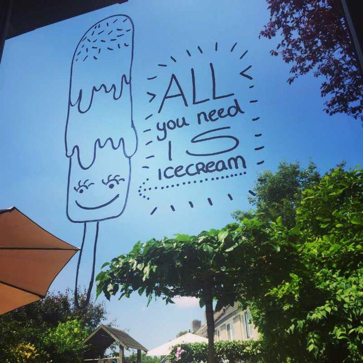 krijtstifttekening All you need is icecream, ijsje