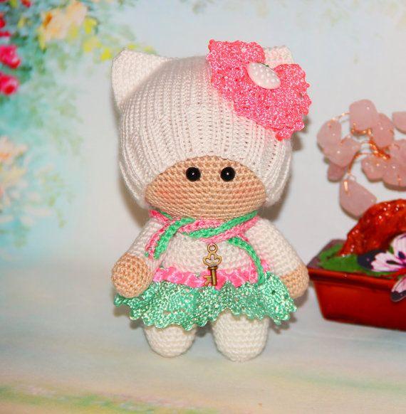 Muñeca de ganchillo en blanco - muñeca amigurumi crochet juguete de felpa muñeca crochet peluche muñeca del Knit muñeca muñeca de juguete - Kids muñeca niña juguete - Pilot