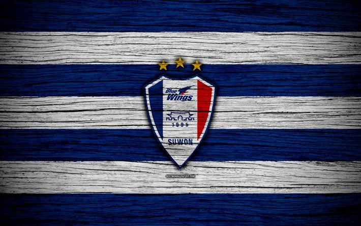 Download wallpapers Suwon Samsung Bluewings FC, 4k, K League 1, wooden texture, South Korean football club, logo, blue white lines, emblem, Suwon, South Korea, football