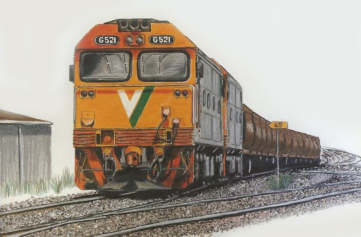 Two G class locos on an up grain to Maryborough at North Geelong.  Done in colour pencil