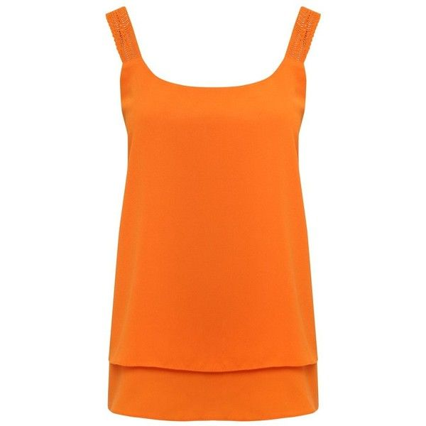 M&Co Double Layer Crochet Strap Vest Top (52 PLN) ❤ liked on Polyvore featuring tops, orange, strappy top, crochet tops, double layer tank top, layered tops and strappy tank