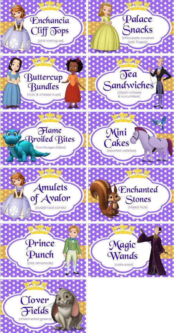 INSTANT DOWNLOAD Food Labels Disney Sofia by TreFratelliParties
