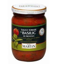 Tomatensaus met Basilicum. Een tomatensaus gemaakt van tomaten uit de Provence met een olijfolie uit de Provence. De zon proef je. Deze saus is heerlijk als basis voor rijst-, pastagerechten of als begeleider van vlees of vis.