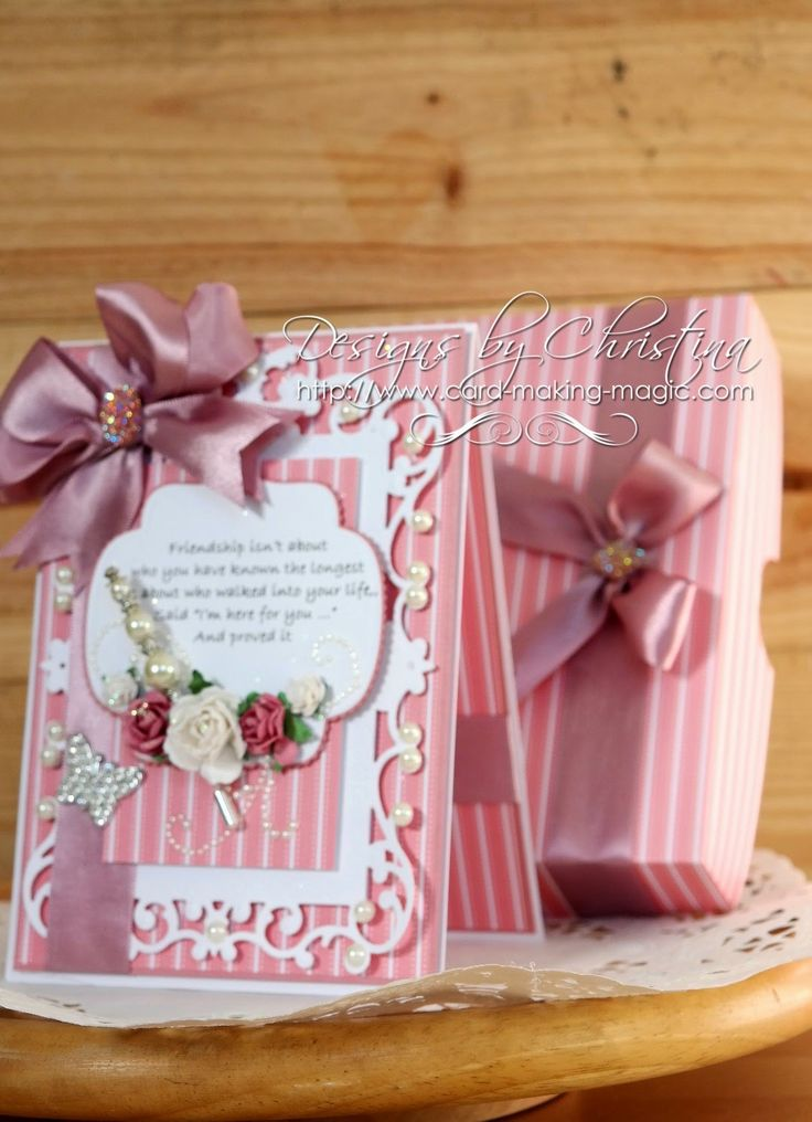 Card Making Ideas With Ribbon Part - 39: Flowers, Ribbons And Pearls: Friendship Card In Rose.