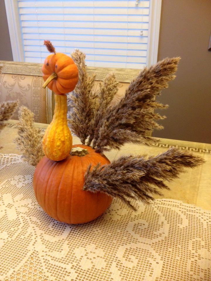 Thanksgiving pumpkin turkey decoration