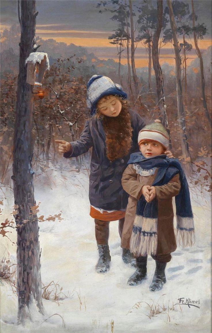 CHILDREN IN THE WINTER FOREST, BY FRANTISEK KLIMES