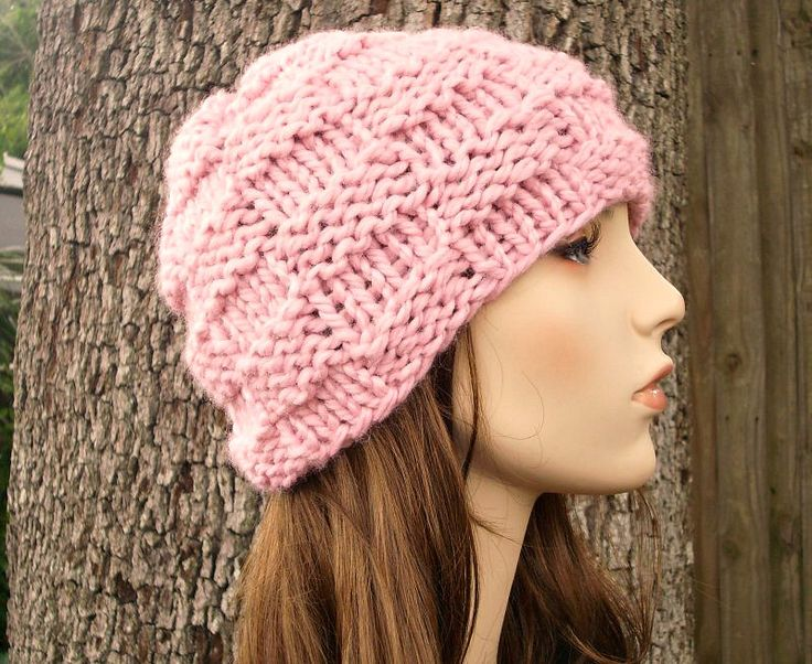 Knit Hat Pink Womens Hat - Basket Weave Beanie in Blossom Pink Knit Hat - Pink Hat Pink Beanie Womens Accessories Winter Hat by pixiebell on Etsy https://www.etsy.com/listing/99134833/knit-hat-pink-womens-hat-basket-weave