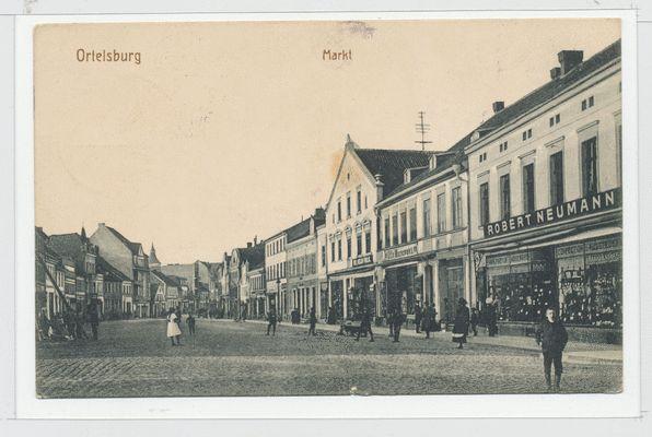 Ortelsburg, Markt, Geschäftshaus Robert Neumann, Wasserturm
