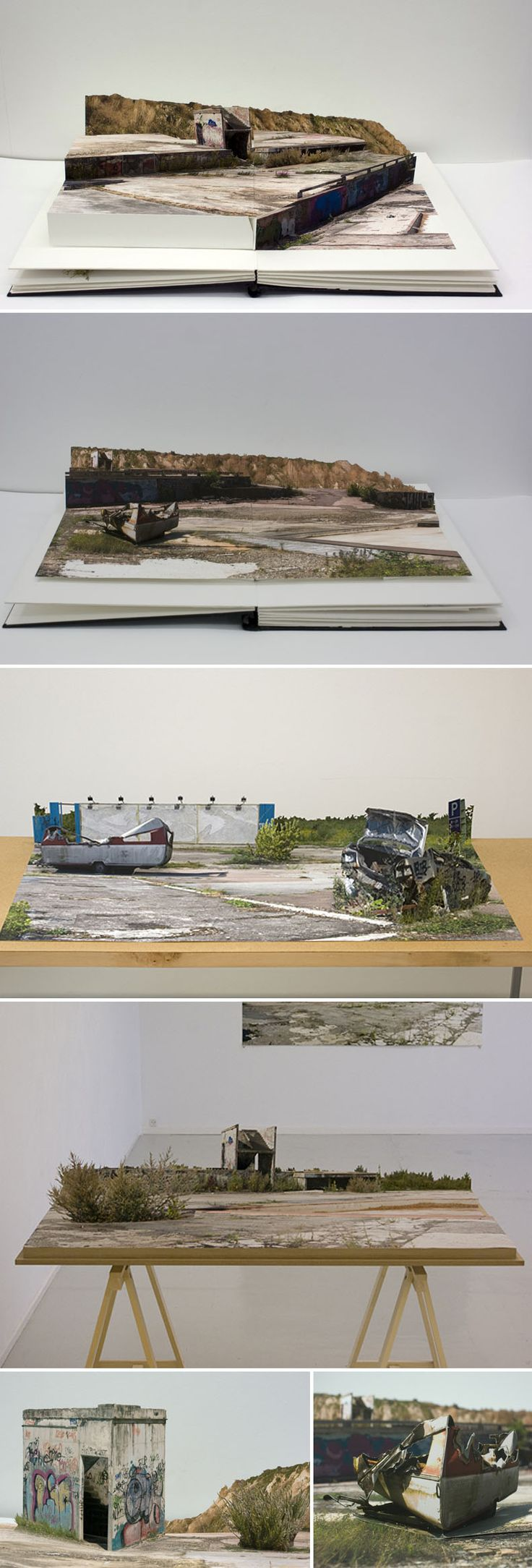"""Where the Sun now stands"" Pop-up photo collage books by Andreas Johansson"