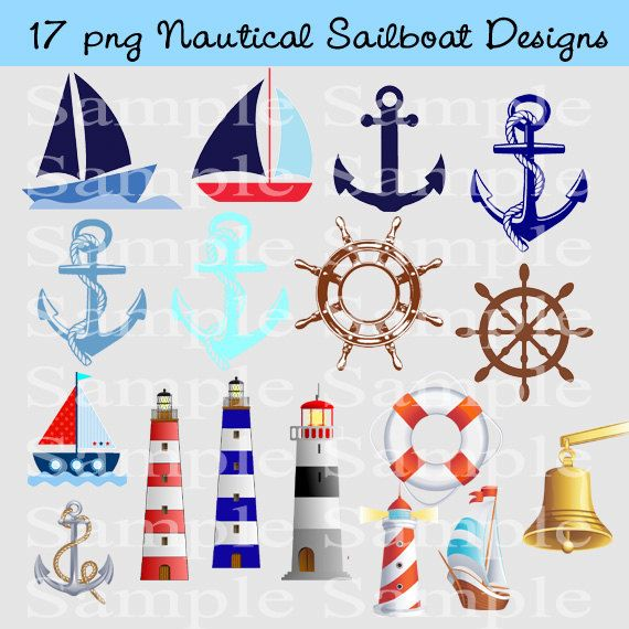 Nautical Clipart Instant Download Anchor PNG Images by BridalBust, $3.50