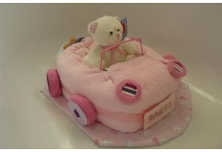 Car nappy cake from our friends at www.cradlegifts.com