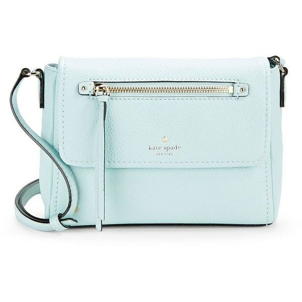 Kate Spade New York Mini Toddy Leather Crossbody (170 AUD) ❤ liked on Polyvore featuring bags, handbags, shoulder bags, grace blue, crossbody purse, crossbody handbag, leather crossbody purses, leather cross body purse and leather crossbody handbags