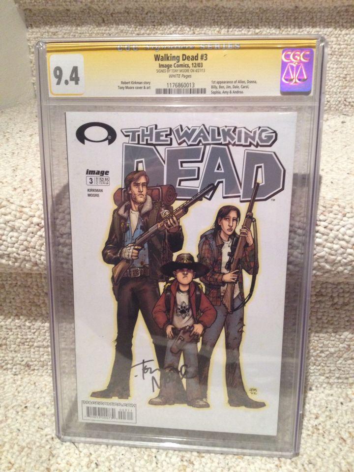 'Walking Dead' #3, CGC 9.4, signed by original series artist Tony Moore.
