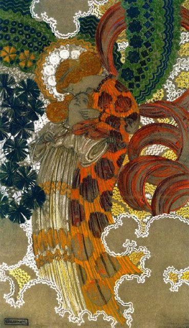 Ennyi: Zene - Ahol a szavak elfogynak, ott kezdődik a zene. (Németh György) - Augusto Giacometti (Swiss, 1877–1947) - The Music, 1909 (Coal, Pastel and Tempera on Paper)