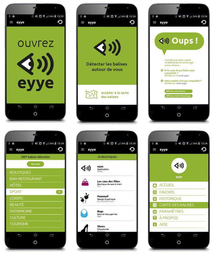 Design de l'interface de l'application eyye. Anne-Lise Mommert / PommeP