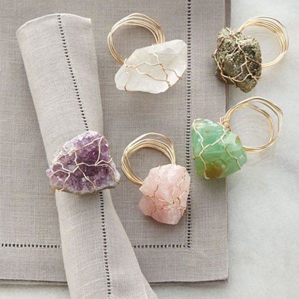 Gift these gems this holiday and impress the newlyweds that love hosting. These geode napkin rings are the perfect way to top off their new place settings.   Luxe Holiday Gifts For The Newlywed Couple's Wedding Registry