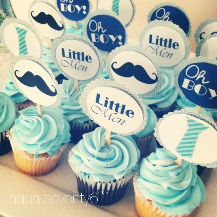 "Twins Mustache and Neck Tie Cupcake Picks ""Little Men"""